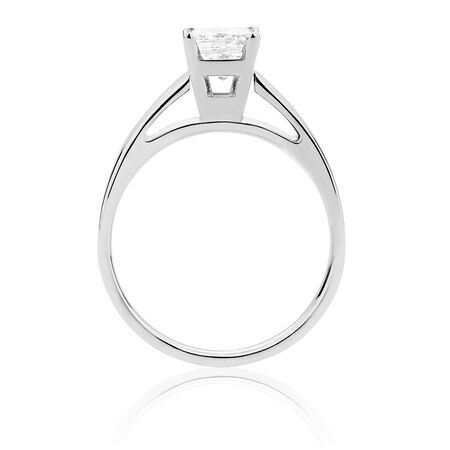 Solitaire Engagement Ring with a 0.95 Carat Diamond in 14ct White Gold