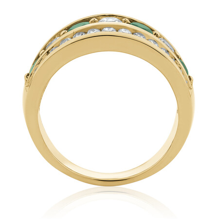Ring with Natural Emerald & 1 Carat TW of Diamonds in 14ct Yellow Gold