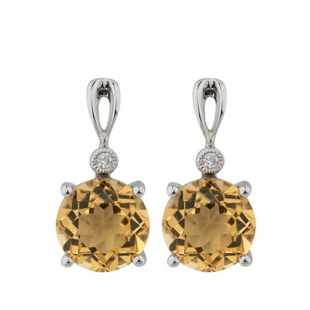 Earrings with Citrine & Diamonds in 10ct White Gold