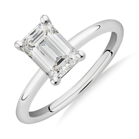 Laboratory-Created 1.50 Carat Emerald Cut Diamond Ring In 14ct White Gold
