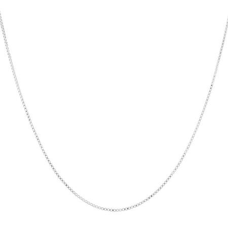 """55cm (22"""") Box Chain in 10ct White Gold"""