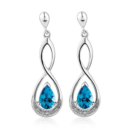 Drop Earrings with Blue Topaz & Diamonds in 10ct White Gold