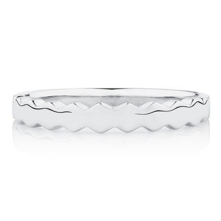 Honeycomb Stacker Ring in 10ct White Gold