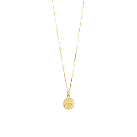 Aquarius Zodiac Pendant in 10ct Yellow Gold