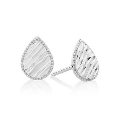 Patterned Pear Studs in 10ct White Gold