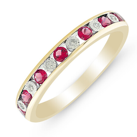 Ring with Rhodolite Garnet & Diamond in 10ct Yellow Gold