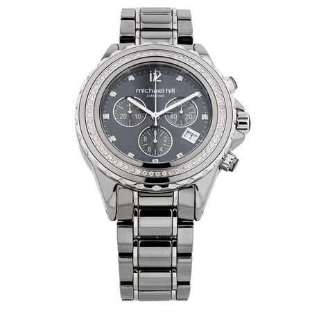 Unisex Chronograph Watch with 1/2 Carat TW of Diamonds in Grey Ceramic & Stainless Steel