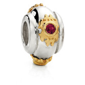 Created Ruby, 10ct Yellow Gold & Sterling Silver Charm