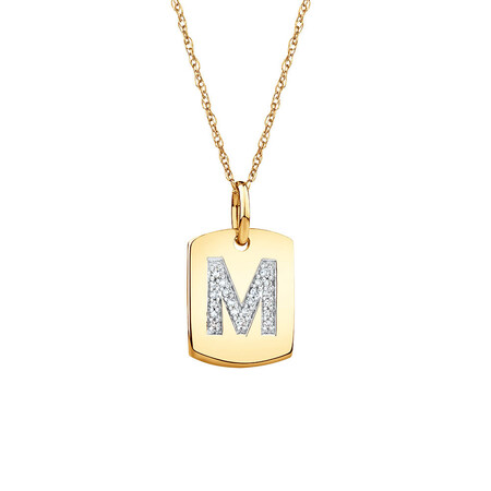 """M"" Initial Rectangular Pendant With Diamonds In 10ct Yellow Gold"