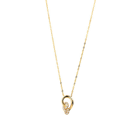 Mini Knots Necklace with 0.12 Carat TW of Diamonds in 10ct Yellow Gold