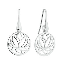 Lotus Flower Drop Earrings in Sterling Silver