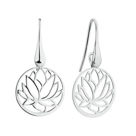 Lotus Flower Drop Earrings in Sterling Silver