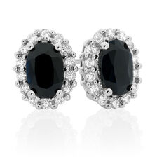 Stud Earrings with Sapphire & 0.19 Carat TW of Diamonds in 10ct Yellow & White Gold