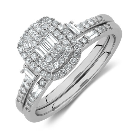 Evermore Bridal Set with 0.40 Carat TW of Diamonds in 10ct White Gold