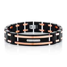 Men S Bracelet With Cubic Zirconia In Black Pvd Rose Plated Stainless Steel