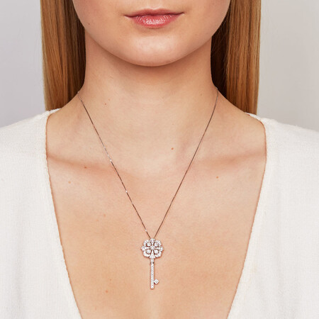Pendant with 3/4 Carat TW of Diamonds in 10ct White Gold
