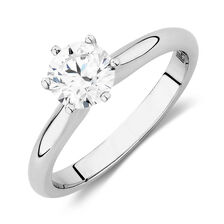 Certified Solitaire Engagement Ring with a 0.98 Carat TW Diamond in 18ct White Gold