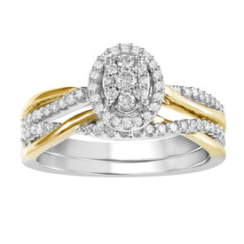 Oval Ring with 0.33 Carat TW of Diamonds in 10ct Yellow & White Gold