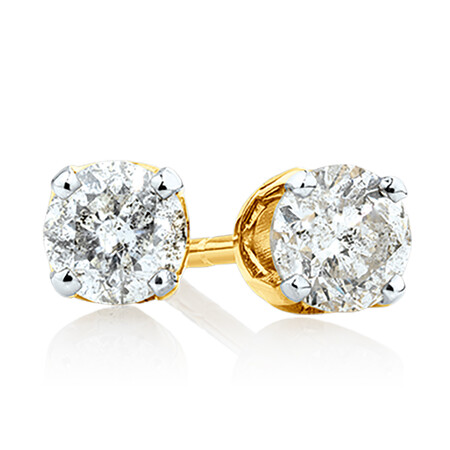 Stud Earrings with 0.40 Carat TW of Diamonds in 10ct Yellow Gold