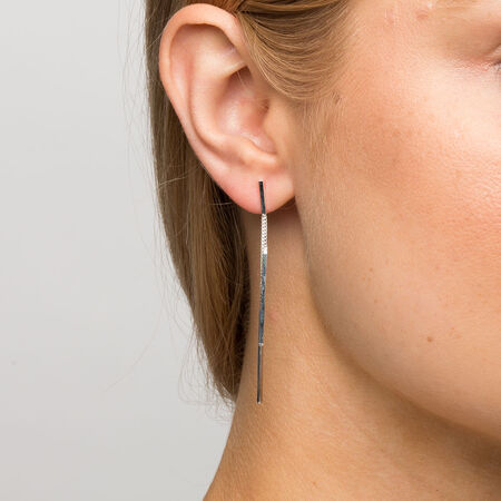 Back and Front Drop Earrings in Sterling Silver