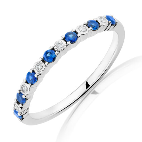 Created Sapphire Stacker Ring With Diamonds In Sterling Silver