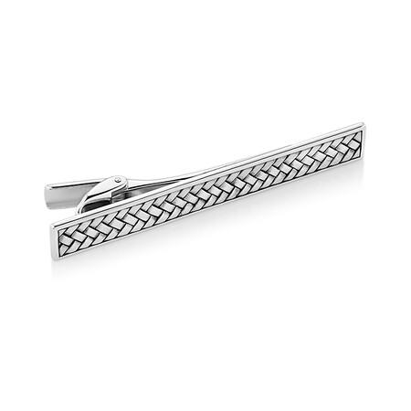 Patterned Tie Bar in 925 Sterling Silver