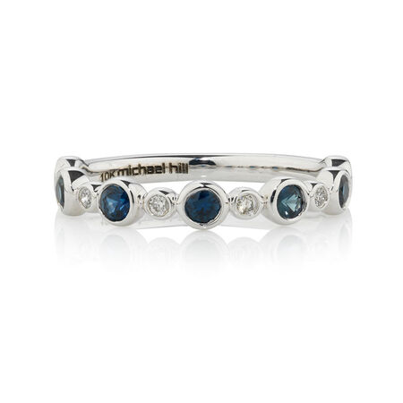 Online Exclusive - Fancy Ring with Diamonds & Sapphire in 10ct White Gold