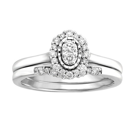 Bridal Set with 0.26 Carat TW of Diamonds in 10ct White Gold