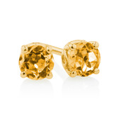 4mm Stud Earrings with Citrine in 10ct Yellow Gold