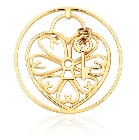 Diamond Set 10ct Yellow Gold Heart & Key Coin Locket Insert