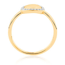 Mini Signet Ring With Diamonds In 10ct Yellow Gold