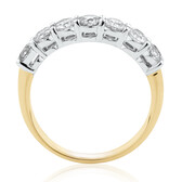 Evermore 7 Stone Wedding Band with 1 Carat TW of Diamonds in 14ct Yellow & White Gold