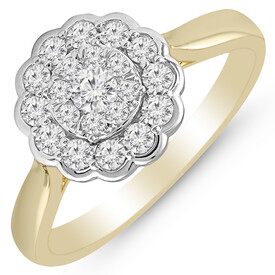 Flower Ring with 1/2 Carat TW of Diamonds in 14ct Yellow & White Gold