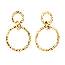 Twisted Rope Drop Earrings In 10ct Yellow Gold