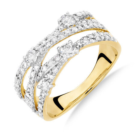 1 Carat TW of Diamonds Ring in 10ct Yellow Gold