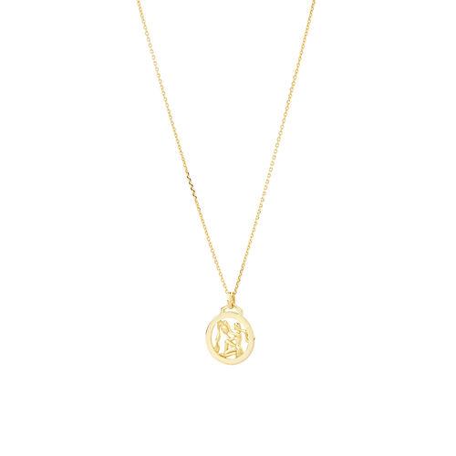 Aquarius Zodiac Pendant with Chain in 10ct Yellow Gold