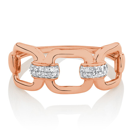 Link Ring with Diamonds in 10ct Rose Gold
