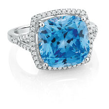 Ring with Blue & White Cubic Zirconias in Sterling Silver