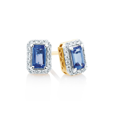 Stud Earrings with Tanzanite & 0.15 Carat TW of Diamonds in 10ct Yellow & White Gold