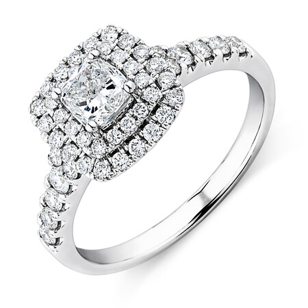 Engagement Ring With 1 Carat TW Of Diamonds In 14ct White Gold