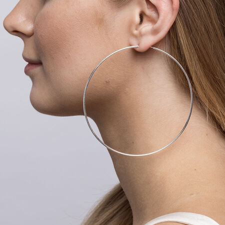 90mm Thin Hoop Earrings in Sterling Silver