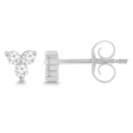 Cluster Stud Earrrings with 0.10 Carat TW of Diamonds in Sterling Silver