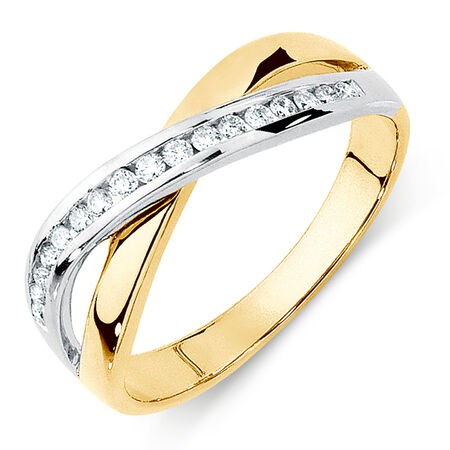 Ring with 0.20 Carat TW of Diamonds in 10ct Yellow & White Gold