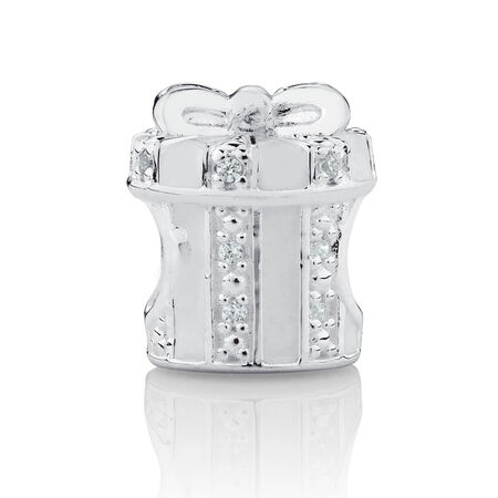 Present Charm with White Enamel and Cubic Zirconia in Sterling Silver