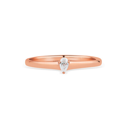Promise Ring with Diamond in 10ct Rose Gold