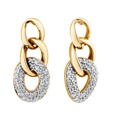 Link Earrings with 1/4 Carat TW of Diamonds in 10ct Yellow Gold