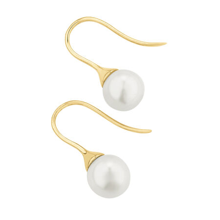 Hook Earrings with Cultured Freshwater Pearls in 10ct Yellow Gold