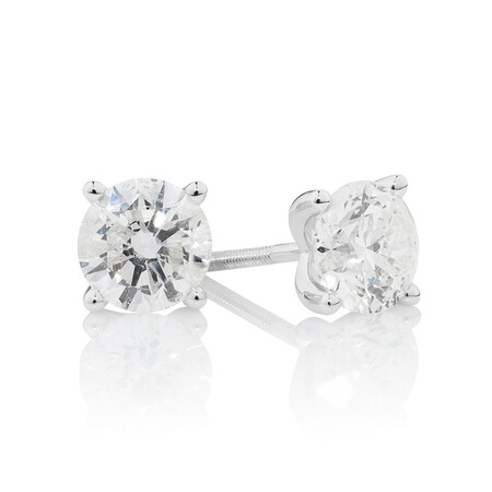 Stud Earrings with 2 Carat TW of Diamonds in 14ct White Gold