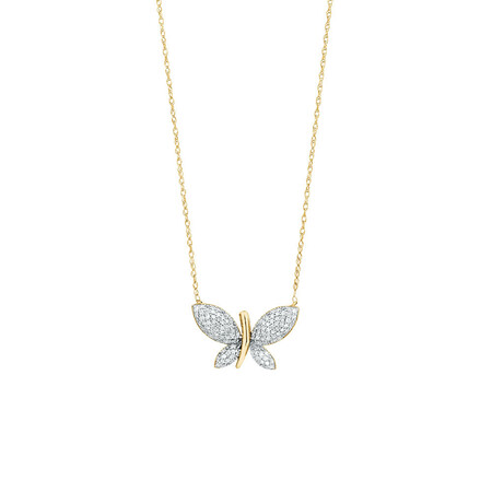 Butterfly pendant with 0.20 Carat TW Diamonds in 10ct Yellow Gold