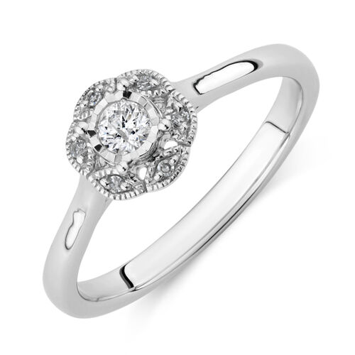 Promise Ring with 0.12 Carat TW of Diamonds in 10ct White Gold